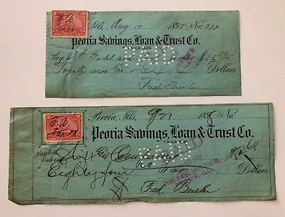 Lot of 2 Antique 1898 PEORIA SAVINGS, LOAN & TRUST Checks + Documentary Stamps