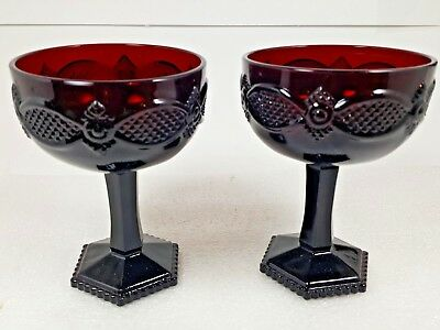 Avon Ruby Red 1876 Cape Cod Collection Saucer Champagne Glass Set NEW
