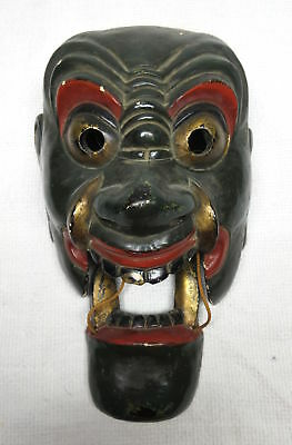Antique Japanese Traditional Mask Kabuki Green Gold Fangs