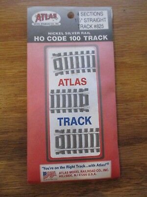 "Atlas 825 HO Scale Code 100 1.5"" Straight Section 4 Pcs Nickel Silver Free ship!"