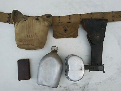 WW2 US Army/USMC Officer's Belt Canteen Holster and Medical Pouch - 1941/42