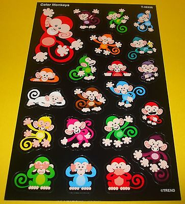 20 TREND Cute Color Zoo Monkeys REWARD Sticker Sheet~Scrapbooking~Collectible~