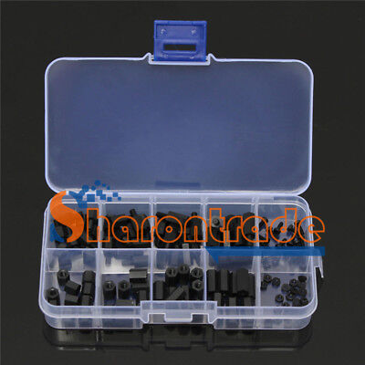 120x Nut Assortment Kit Stand-off M2 Nylon Hex Spacers Screw Plastic Accessory