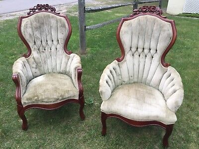 Vintage Victorian His And Hers Parlor Chairs With Mahogany Carved Roses