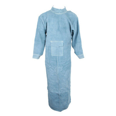 Blue Welding Protective Apron Apparel Heat Insulation Safety Leather 150cm