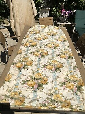 Lovely Pair Of Quality Vintage Floral Cotton Thermal Lined Curtains 205 Cm Long