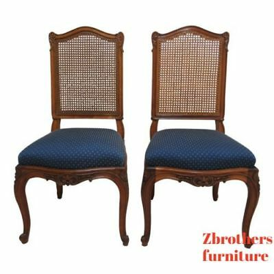 2 Antique French Victorian Rosewood Carved Dining Room Desk Side Chairs A