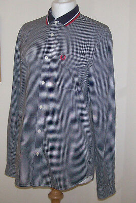 Fred Perry Black & White Gingham Shirt Navy Knitted Collar Size S