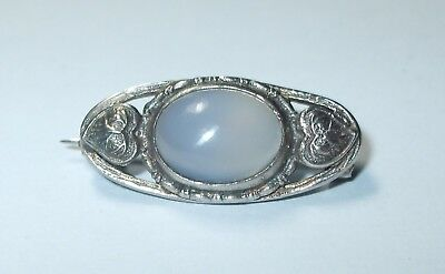 Antique Arts & Crafts Sterling Silver Blue Ceylon Moonstone Oval Leaf Pin Brooch