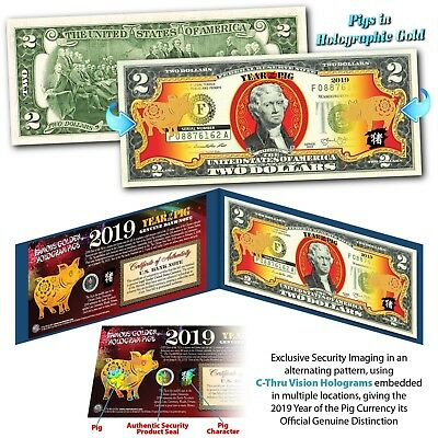 2019 Chinese New Year U.S. Genuine $2 Bill YEAR OF THE PIG Gold Hologram - Blue