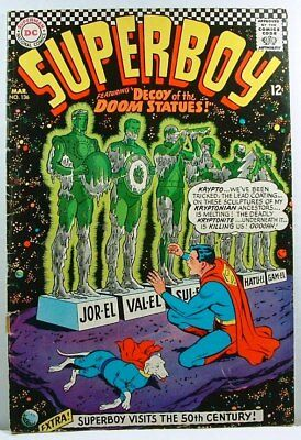 "DC Comics: SUPERBOY #136 G+ (1967) ""Decoy of the Doom Statues!"""