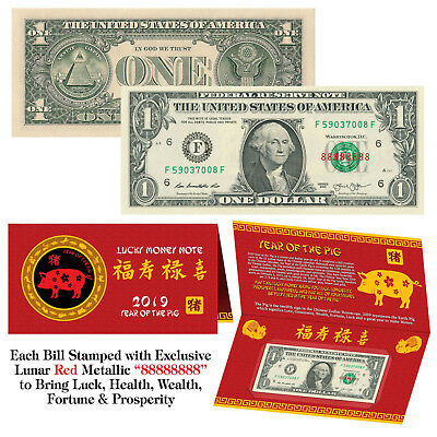2019 Chinese YEAR of the PIG Red Lunar Metallic Lucky 8 Genuine $1 Bill w/Folder