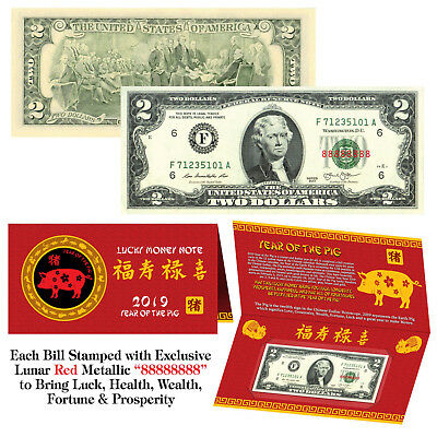2019 Chinese YEAR of the PIG Red Lunar Metallic Lucky 8 Genuine $2 Bill w/Folder