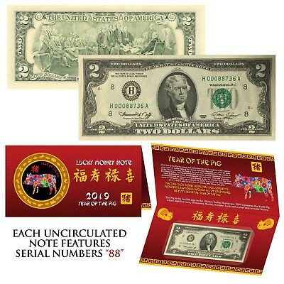 1976 Bicentennial $2 Bill * 2019 Chinese New YEAR of PIG * w/Red Folder - S/N 88
