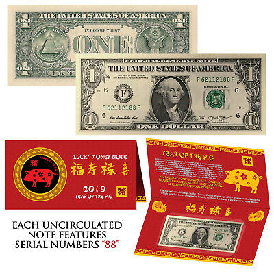 2019 CNY Chinese YEAR of the PIG Lucky Money U.S. $1 Bill w/ Red Folder - S/N 88