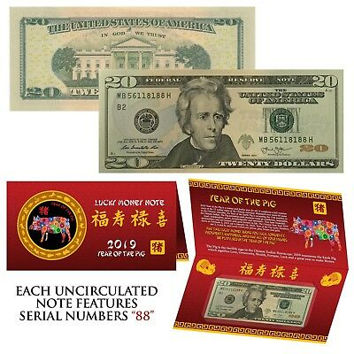 2019 CNY Chinese YEAR of the PIG Lucky Money US $20 Bill w/ Red Folder - S/N 88