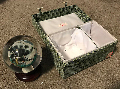 Vintage Asian Chinese Hand Painted Inside Reverse Art Glass Globe Orb Cranes Box