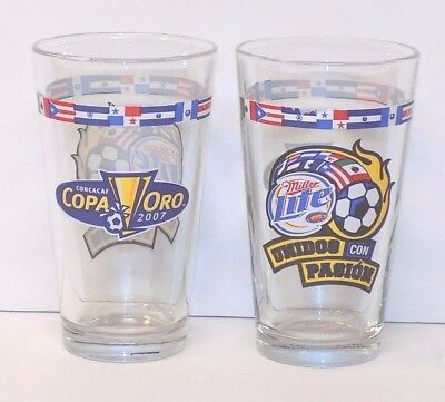 Set of 2 Miller Lite Concacaf Copa Oro 2007 Pint Size Glasses United the Passion