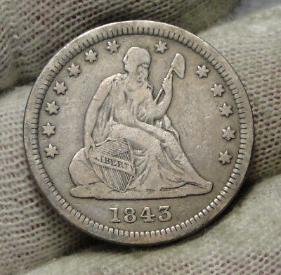 1843 Seated Liberty Quarter 25 Cents - Key Date only 645,600 minted. (7495)