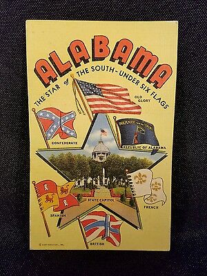 Vintage  Postcard Alabama The Star Of The South Under Six Flags...