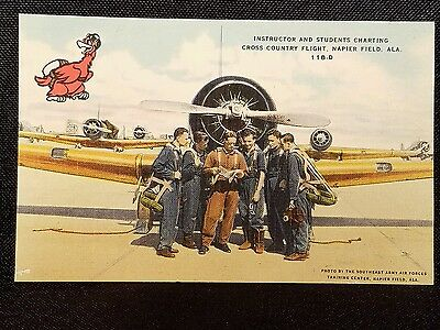 Vintage  Postcard Instructor And Students Charting.. Napier Field Alabama