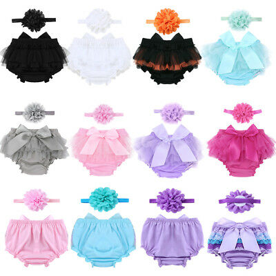 0-24M Baby Girls' Ruffled Tutu Skirted Bloomers with Flower Headband Outfit Set