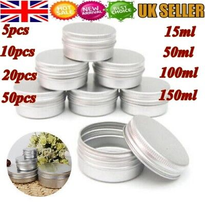 5/10/20/50x Nail Art / Cosmetic / Travel / Cream Aluminum Pot Jar Tin Container