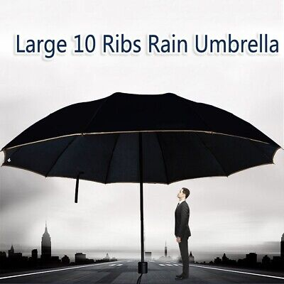 Large Umbrella Men/Women Three Folding Windproof Rain Sun Huge Wind Resistant