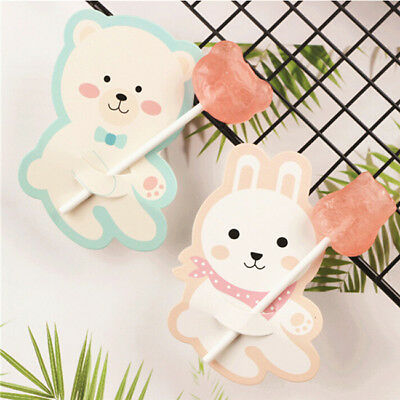 50x Cute Candy Lollipop Party Decor Cattoon Animal Bear Rabbit Paper Card Z