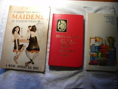 Lot of 3 Bar Saloon  Bartender Swingers bar guide mixed drinks Old Mister Boston