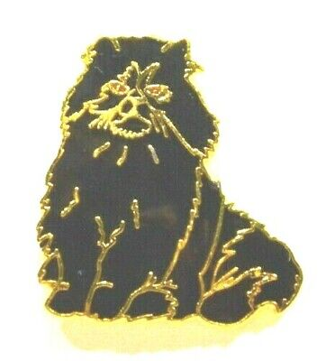 Pins Chat Cat Felin Persan Noir Emaille