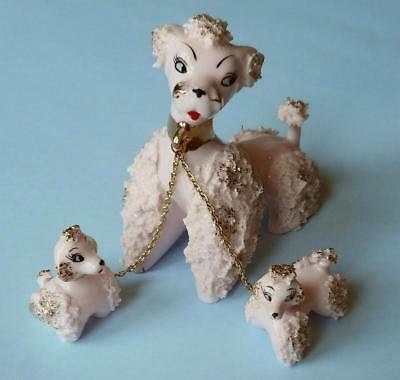 Vintage Pink With Gold Spaghetti Poodle Family Figurines Mom & Two Pups On Chain