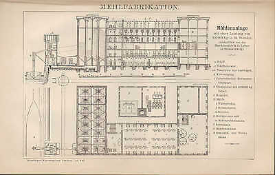Lithografie 1894: Mehl-Fabrikation. Mühle-n-Anlage. Müller Maschinen Mahlgang