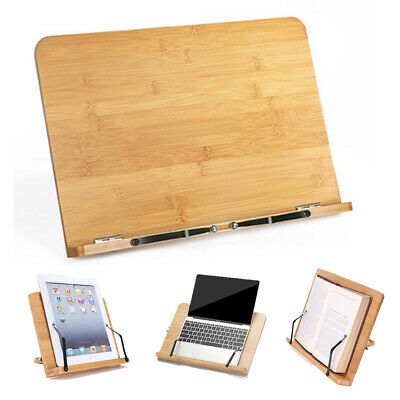 Desktop Bamboo Book Stand Adjustable Holder Tray Page Paper Cookbook Reading