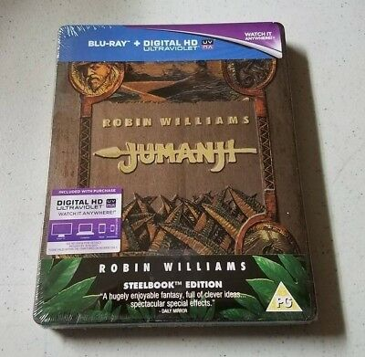 Jumanji Blu Ray Steelbook ZAVVI UK Exclusive BRAND NEW Sealed