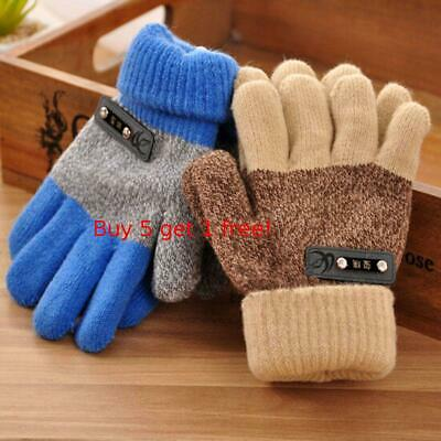Boys Kids Warm Knitted Gloves Winter Thick Full Mitten Finger Protector