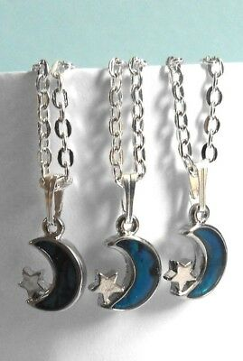 3 x Abalone Moon & Star Drop SP Necklace/WEDDING/BRIDESMAIDS