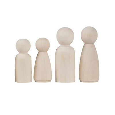 20 Pcs Unfinished Wooden Doll Peg Educational Female Male Paint Kids Toy Hard