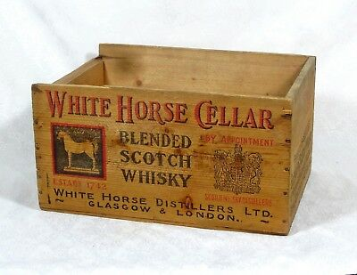 Vintage-White-Horse-Cellar-Blended-Scotch-Whisky-Wooden-Shipping-Box-Crate  Vint