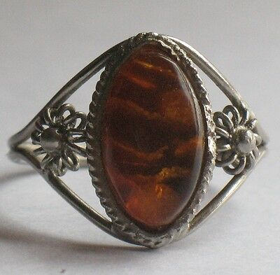 Antique Russian Ring sz 9 ½ GENUINE Amber Yellow Woman Vintage Honey Filigree Ol