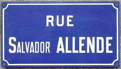 Old French enamel street sign plaque road name Salvador Allende Chilean Etampes