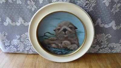 Framed California Sea Otters Plate-First In Series-1980