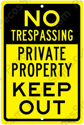 "No Trespassing Private Property Keep Out Aluminum 8"" x 12"" Metal Sign USA Yel/Bl"
