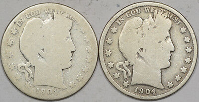 1904 & 1904-S Barber Half Dollars Lot/2 - Circulated