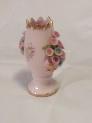 Vintage Miniature 3 Inch Lefton China Vase With Tiny Flowers Hand