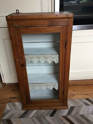 Antique Pine Glazed Wall Cupboard
