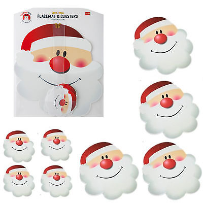 Christmas Santa Face PVC Placemats & Coasters Set of 4  Wipe Clean