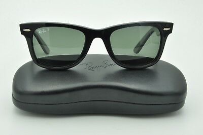 a23a28090f Ray Ban RB 2140 Wayfarer Sunglasses 901 58 Black   Polarized Green Lenses  50mm