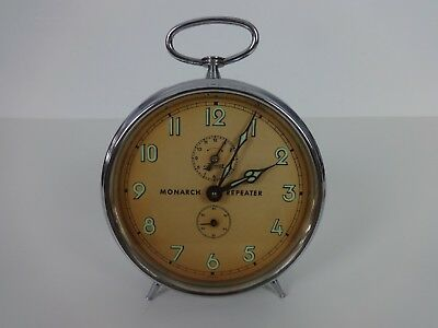 Vintage Clock Kaiser Monarch Repeater Alarm Clock Silver Chrome Round Wind Up