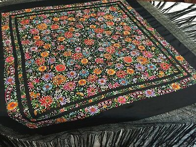 ANTIQUE VINTAGE Black 1920-30's CHINESE CANTON EMBROIDERED SILK PIANO SHAWL